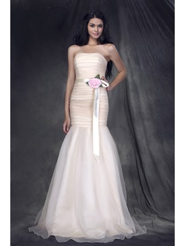 Elegant Flower Trumpet Strapless Sashes Anderae's Bridesmaid/Prom Dress