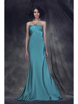 Buy Simple Style Ruched Strapless A-Line Empire Waist Floor-Length Anderae's Bridesmaid Dress