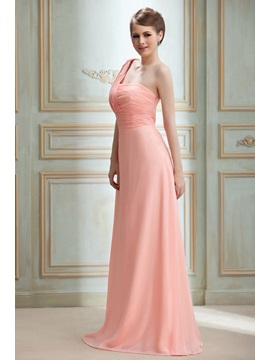 Sexy Draped A-line One-Shoulder Floor-Length Nadya's Bridesmaid Dress