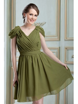 Modern Ruched A-Line V-Neck Knee-length Nadya's Bridesmaid Dress