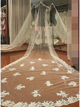 Gorgeous Cathedral Length Beautiful White Lace Wedding Bride Veil (do not contain Comb )