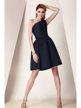 Timeless A-Line One-Shoulder Ruffles Short/Mini Dasha's Bridesmaid Dress