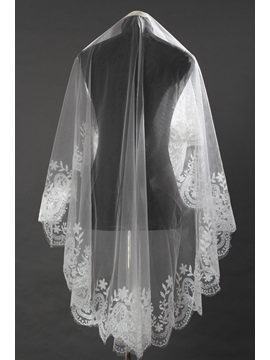 Chapel White Lace Bridal Veil