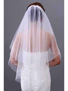 Cute Elbow Wedding Bridal Veil with Crystal