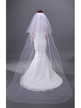 Simple Cathedral with Beadings Wedding Veil