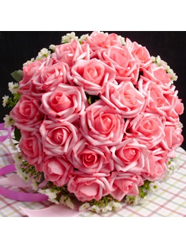 Beautiful Pink Rose Cloth Wedding Bridal Bouquet with Ribbon