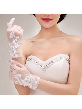 Appliques Short Wedding Gloves