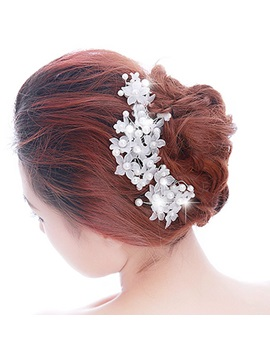 White Pearl Lace Bride Hairpins