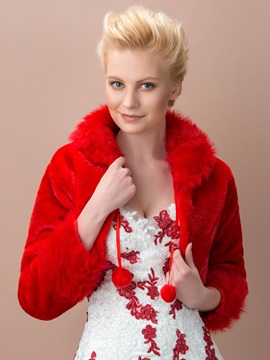 Dazzling Long Sleeve Red Fax Fur Wedding Jacket