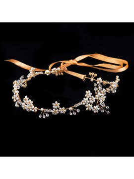 Crystal Pearl Silk Ribbon Wedding Headband