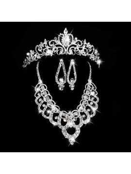 Exquisite Shiny Rhinestone Embellished Wedding Jewelry Set (Including Necklace, Tiara, and Earrings)