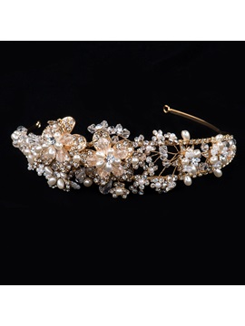 Fashion Rich Rhinestone Beaded and Alloy Wedding Headband