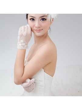 Flowers Embellishing Ivory Wedding Gloves