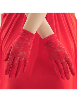Popular Full-Fingered Short Red Lace Wedding Golves
