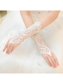 Smart Beading Fingerless Wedding Gloves with Appliques