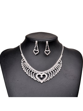 Heart Shape Hollow Rhinestone Silver Metal Sweet Two-Piece Wedding Jewelry Sets