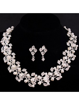 Wreath Shaped Pearl Inlaid Imitation Diamond Romantic Wedding Jewelry Sets