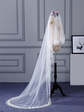Pretty Lace Edge One Layer Waltz Wedding Veil