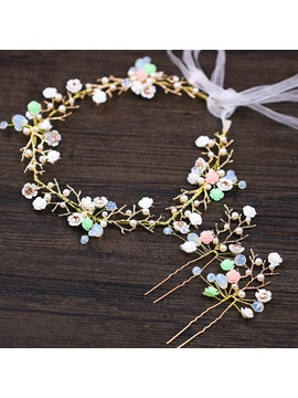 Leaf with Assorted Colors Flower Design Alloy Wedding Hairband