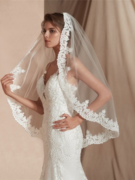 Appliques One-Layer Elbow Wedding Veil
