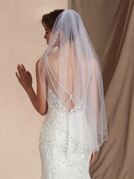 Beaded Edge Elbow One-Layer Wedding Veil