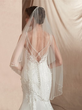 One-Layer Bead Edge Elbow Wedding Veil