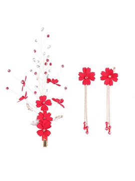 Red Sweet Floral Shape Earrings Headpiece Jewelry Sets (Wedding)
