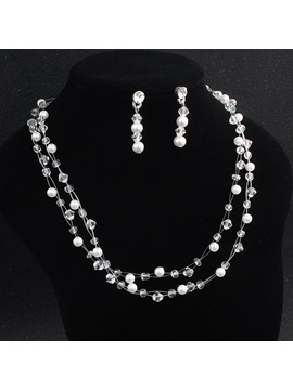 Pearl Inlaid European Water Drop Jewelry Sets (Wedding)