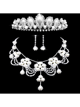 Pearl Inlaid Floral Necklace Jewelry Sets (Wedding)