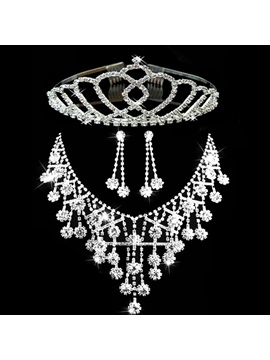 Floral Tiara Korean Jewelry Sets (Wedding)