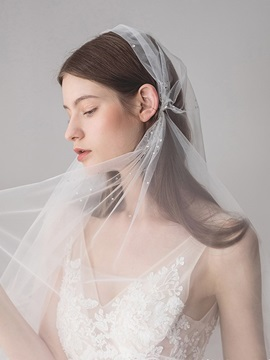 Diamonds One-Layer Cut Edge Wedding Veil 2019