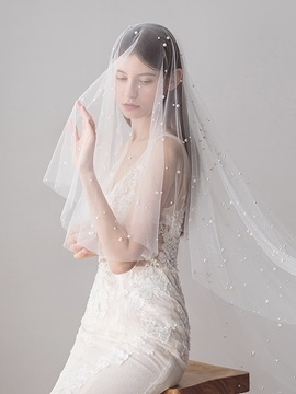 One-Layer Bead Cut Edge Wedding Veil 2019