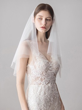 Cut Edge One-Layer Bead Short Wedding Veil 2019