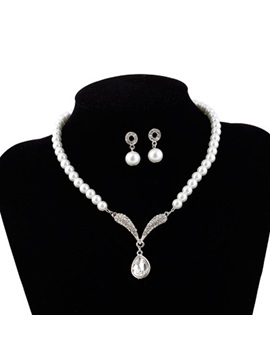 Pearl Inlaid Earrings European Jewelry Sets (Wedding)
