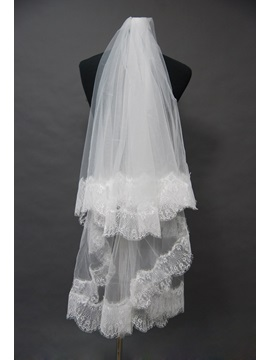 Superb Fingertip Wedding Bridal Veil with Lace Applique Edge