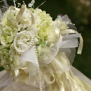 Light Yellow Silk Cloth Flower Wedding Bridal Bouquet
