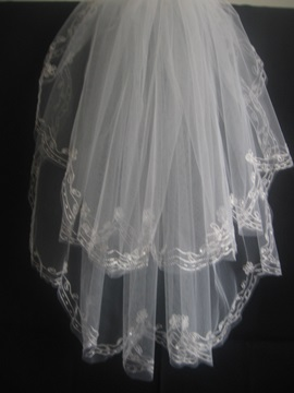 Blusher Wedding Bridal Veil with Lace Applique Edge