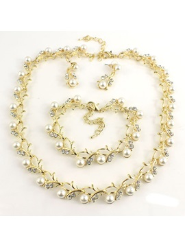Pearl Inlaid Necklace Sweet Gift Jewelry Sets