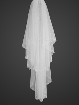 Beautiful Elbow Wedding Veil with Beaded Edge