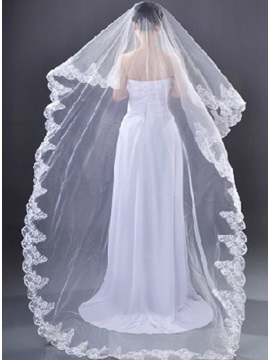 Chapel Wedding Bridal Veil with Applique Edge