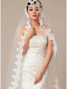 Exquisite Chapel Wedding Bridal Veil with Applique Edge