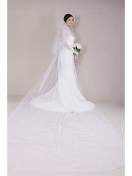 Great Cathedral Tull Wedding Bridal Veil with Embroidery