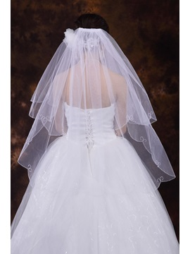 Elegant Wedding Veil With Beading Edge