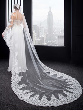 Charming Appliques Cathedral Wedding Veil