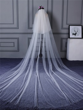 Dramatic Two-Layer Pearls Wedding Veil