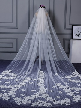 One Layer Tulle Appliques Wedding Veil