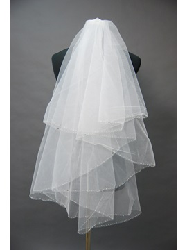 Marvelous Tidebuy Waterfall Style Blusher Wedding Bridal Veil with Beaded Edge