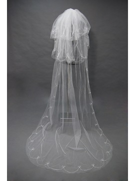 Exquisite Cathedral Style Wedding Bridal Veil with Cut Edge