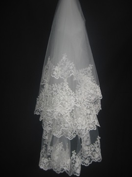 Elbow with Appliques Edge Wedding Bridal Veil