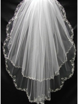 Fantastic Wedding Veil With Fl Edge